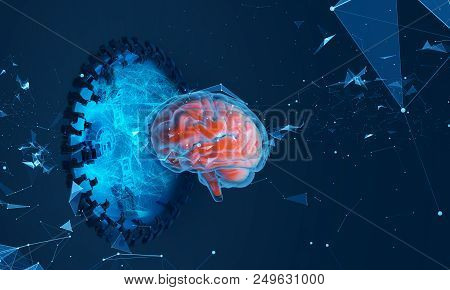 Futuristic Illustration Of Hologram Of The Brain. A Brain Scan. Analysis Of The Structure Of The Bra