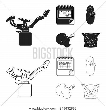 Calendar, Newborn, Stomach Massage, Artificial Feeding. Pregnancy Set Collection Icons In Black, Out