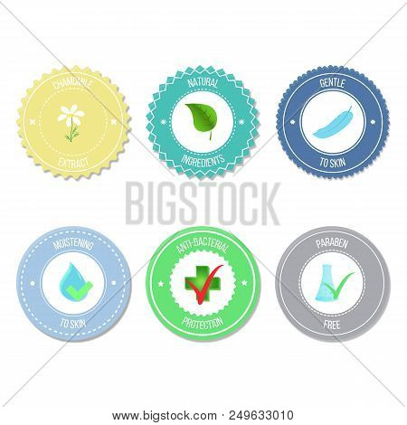 Vector Set Of Badges And Labels With Various Inscriptions (chamomile Extract, Natural Ingredients, G