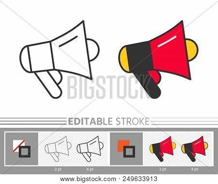 Megaphone Speaker Stock Sale News Event Linear Icon. Line Without And With Color Editable Stroke, Fi