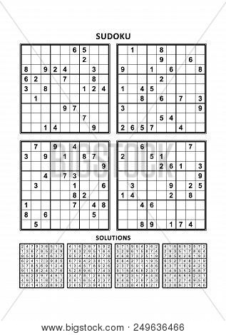 Four Sudoku Puzzles Of Comfortable (easy, Yet Not Very Easy) Level, On A4 Or Letter Sized Page With