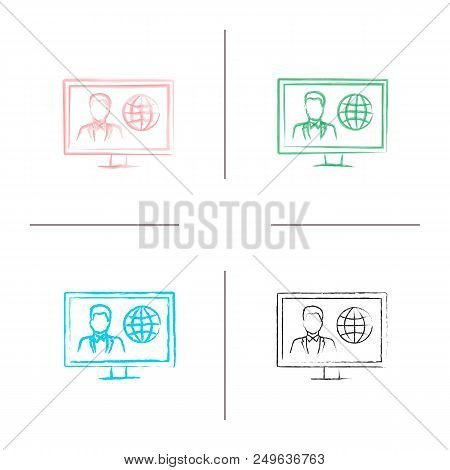 Tv News Hand Drawn Icons Set. Newscaster On Television Set Display. Color Brush Stroke. Isolated Vec