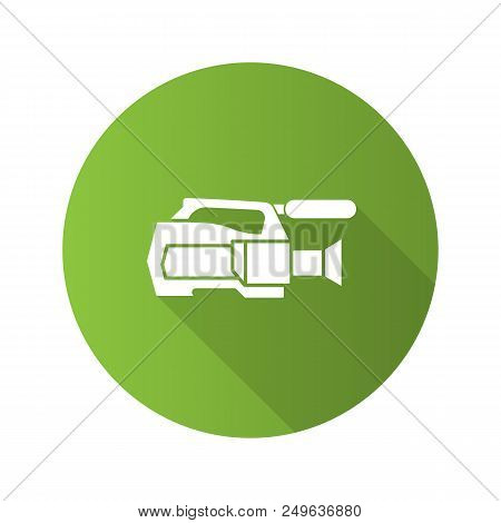 Video Camera Flat Design Long Shadow Glyph Icon. Videotaping. Vector Silhouette Illustration