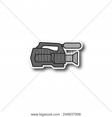 Video Camera Patch. Color Sticker. Videotaping. Vector Isolated Illustration