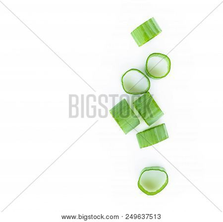 Closeup Top View Green Onion Vegetable Sliced On White Background