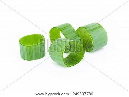 Closeup Green Onion Vegetable Sliced On White Background