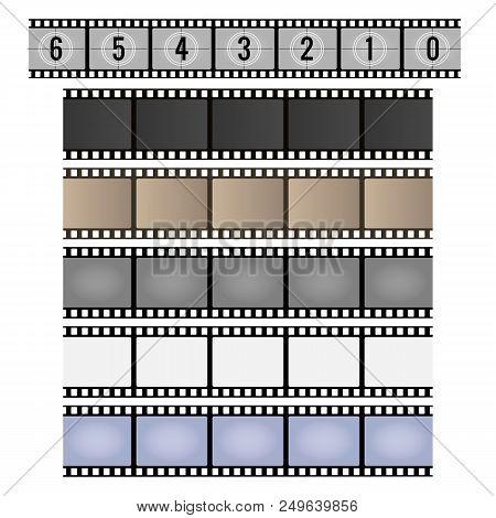 Film Strip. Movie Reel Frames, Vintage 35mm Camera Celluloid Filmstrip Vector Illustration