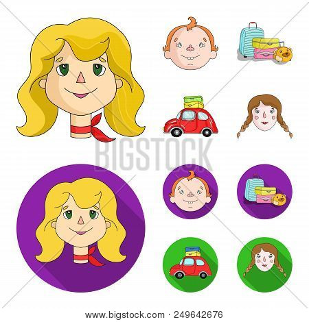 Camping, Woman, Boy, Bag .family Holiday Set Collection Icons In Cartoon, Flat Style Vector Symbol S