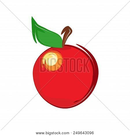 Web Icon With Sweet Apple On White - Vector Clipart Of Natural Organic Fruit.