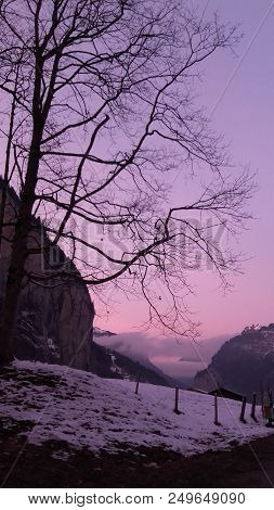 Pink Sunset In A Winter Evening In Switzerland