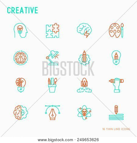 Creative Thin Line Icons Set: Generation Of Idea, Start Up, Brief, Brainstorming, Puzzle, Color Pale