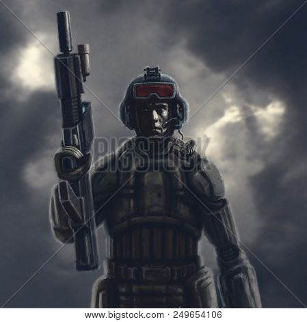 Heavy Space Trooper With A Rifle. Science Fiction Original Character.