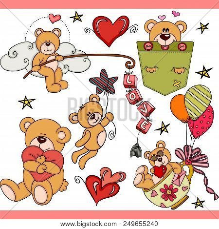 Scalable Vectorial Representing A Teddy Bear Party Set Digital, Illustration With Elements For Your