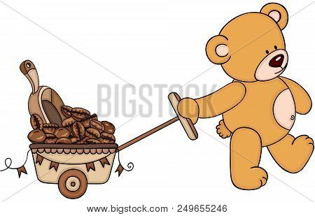 Scalable Vectorial Representing A Teddy Bear Pushing Cart Full Of Coffee Bean And Scoop, Element For