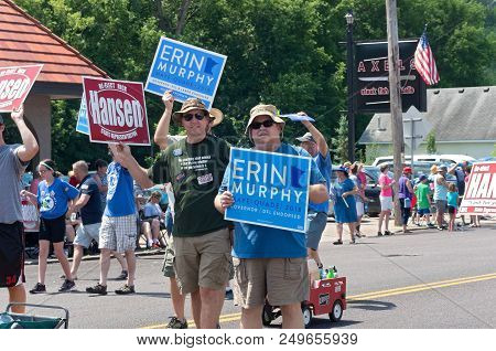 Mendota, Mn/usa - July 14, 2018: Supporters Of Candidates Erin Murphy And State Representative Rick