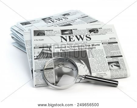 News. Loupe with  periodic ho news newspapers isolated on white. 3d illustration