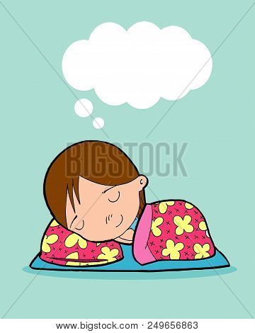 Kid Sleeping At Home On Background, Children Resting At Home, Couch And Girl, Simple Cartoon Of Kids