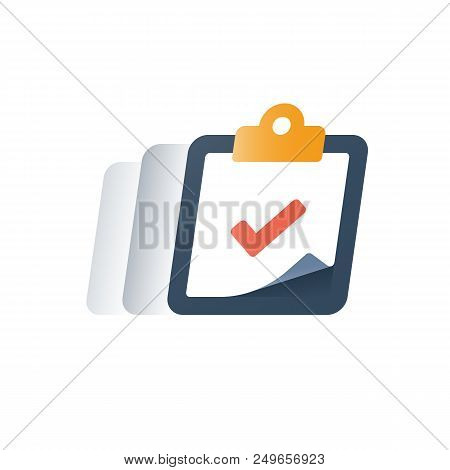 Check Mark Clipboard, Task Done, Tick Sign, Complete Test, Fast Service, Brief Summary Concept, Ques