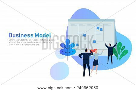 Illustration Concept The Man Present With Whiteboard Business Model Canvas. Vector Illustration Flat