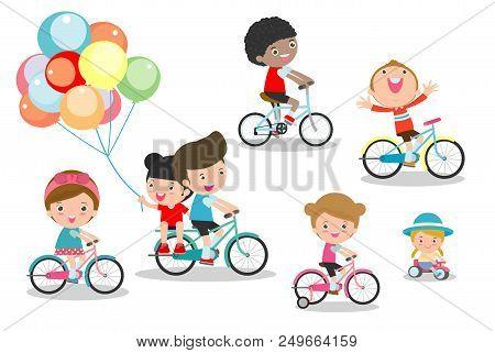 Happy Kids On Bicycles, Child Riding Bike,kids Riding Bikes, Child Riding Bike, Kids On Bicycle Vect