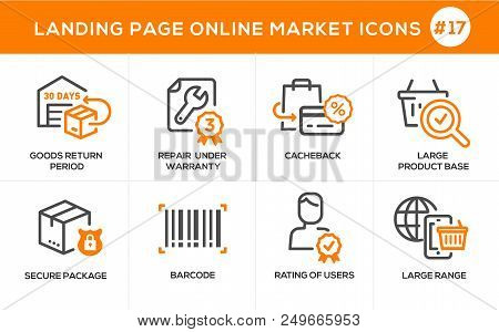 Flat Line Design Concept Icons Online Shopping, E-commerce M-commerce Services, Payment Procedure, S