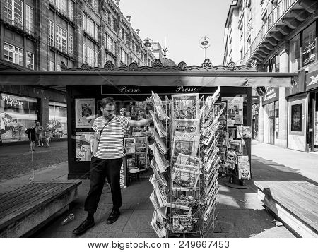 Strasbourg, France - Jul 16, 2018: French Man Buying Newspaper Announcing France Champion Title Afte