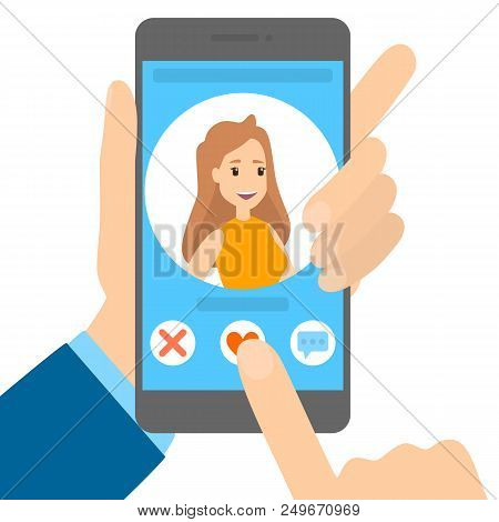 Dating App On The Phone. Online Communication And Connection. Sending Heart To A Pretty Blonde Woman