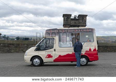 Edinburgh, Scotland - April 2018: Handmade Scottish Confectionery And Ice Cream Vending Van At The E