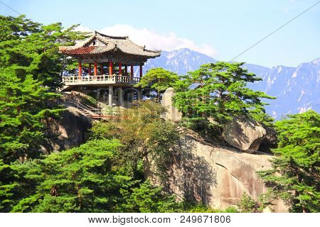 Ancient pavilion on Kumgangsan mountains (Diamond Mountains) near to Samil lake, Kangwon Province, in south-eastern North Korea (DPRK)