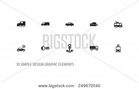 Set Of 10 Editable Shipment Icons. Includes Symbols Such As Light, Trolleybus, Streetcar And More. C