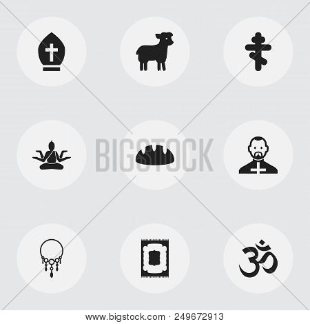 Set Of 9 Editable Dyne Icons. Includes Symbols Such As Prayer Rug, Muslims Holiday, Om Aum And More.