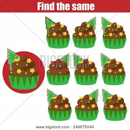 Find The Same Pictures Children Educational Game. Find Equal Pairs Of Cupcakes Kids Activity. Christ