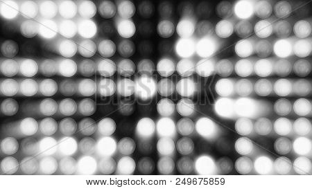 Animation Of Flashing Light Bulbs On Led Wall Or Projectors For Stage Lights. Bright Stage Lights Fl