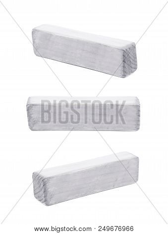 Hyphen Dash Symbol Sawn Of Wood And Paint Coated, Isolated Over The White Background, Set Of Three D
