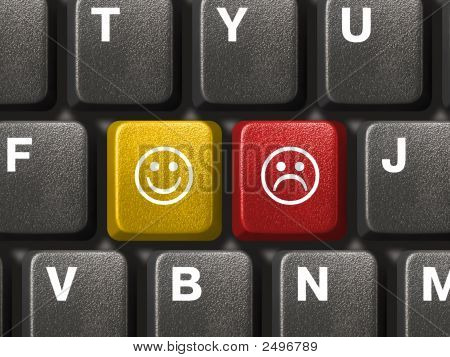 Computer Keyboard With Two Smiley Keys