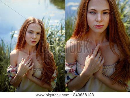 Portrait Of A Red-haired Girl With Long Hair. Hair Down. Artistic Portrait. Child Of Nature. Proximi