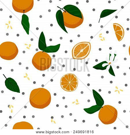 Oranges And Dots Seamless Pattern. Stock Vector