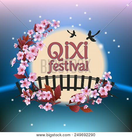Qixi Or Tanabata Festival Vector Illustration, Celebrates The Annual Meeting Of The Cowherd And Weav