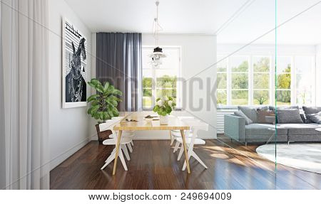 Modern dining room interior 3d rendering. Contemporary design concept
