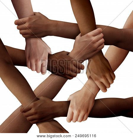 Diversity Teamwork As A Group Of Diverse People Holding Arms As A Multiracial Society And Multicultu