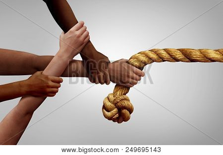 Hands Pulling Rope As A Team Effort Business Concept And Diverse Teamwork Metaphor Success As A Grou