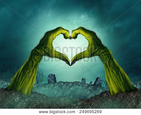 Zombie hand heart shape in a creepy night graveyard background as a green halloween arms emerging from a cemetary grave or scary symbol in a 3D illustration style. poster