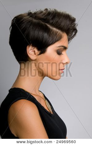 Fashion model with straight short hair profile view