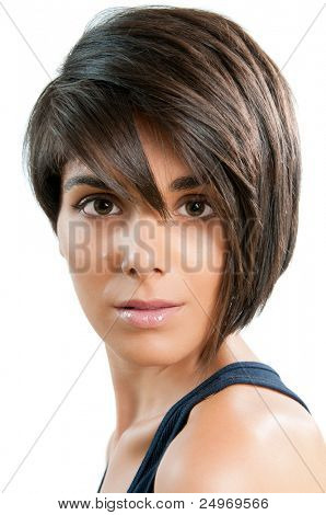 Beautiful young woman with straight short hair isolated on white background