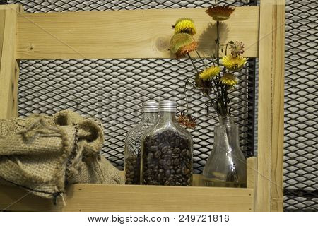 Roasted Coffee Beans In The Bottle, Stock Photo