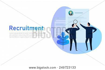 Recruitment Process. Selecting Candidate By Human Resource. Business Man Select From Printed Cv, Mag