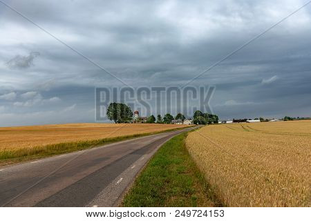 Swedish Pastoral Landscape. Small Road Between Yellow Wheat Fields Leading To A Cosy Sweden Village