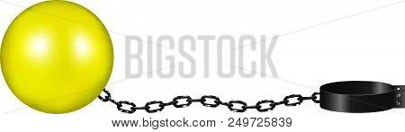 poster of Vintage shackle in yellow and black design on white background