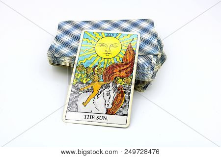 Bangkok Thailand - June 14, The Sun And Two Of Cups, Illustrative Editorial Rider Waite Tarot Cards