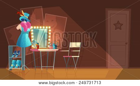 Vector cartoon illustration of empty dressing room, wardrobe with furniture, dresser with makeup mirror, stand with stage costume. Interior of circus or theater cloakroom for artist to change clothes poster